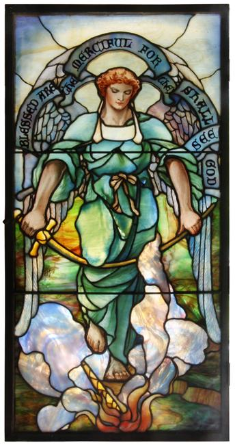 One of an exceptional set of eight Tiffany Studios glass windows, crafted in New York in 1913 and expected to gavel for $400,000-$600,000.