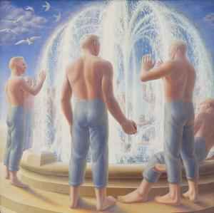 "George Tooker (1920-2011), Fountain, 1950, egg tempera on gesso panel, 24"" x 24"", signed"