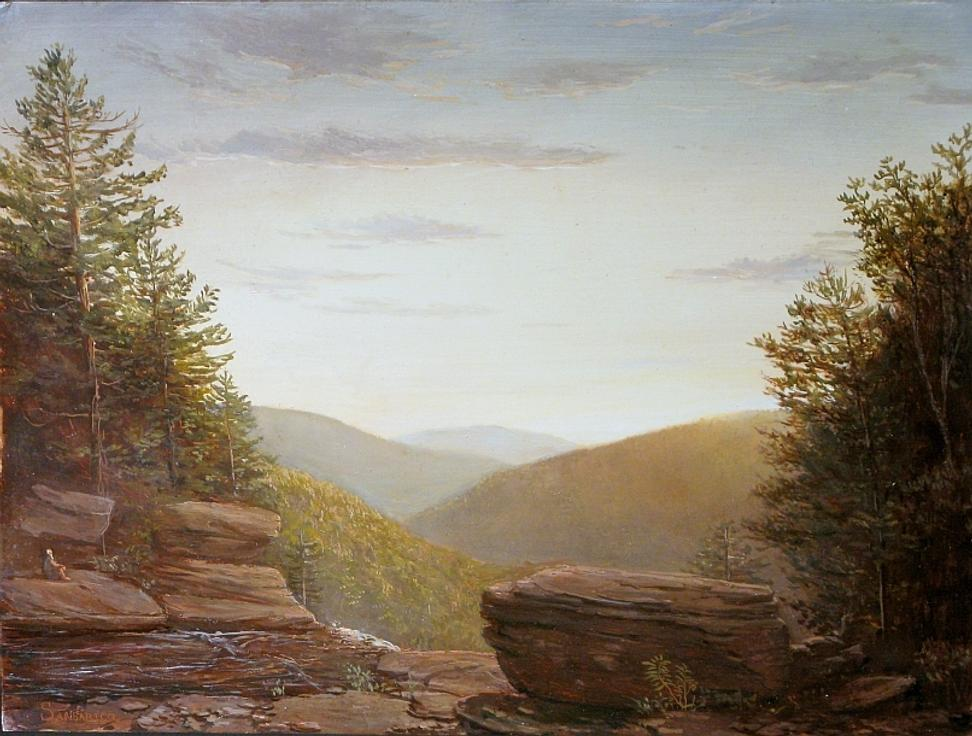 LAUREN SANSARICQ (B.  1990) - The Top of Kaaterskill Falls, 2011 - Oil on panel - 12 x 16 inches