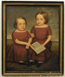 Early 19th century primitive folk art portrait painting of twin sisters in matching burgundy dresses, restored, in a 40 ¾ inch by 33 ½ inch frame (est.  $1,000-$2,000).