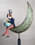 "Uncle Sam, First Man on the Moon, 1983 Carved wood, painted 80"" h x 40"" w x 23"" d."