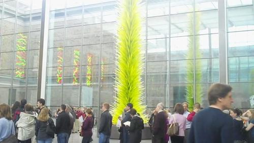 Dale Chihuly, Lime Green Icicle Tower, installed in the Shapiro Family Courtyard at the Museum of Fine Arts, Boston.