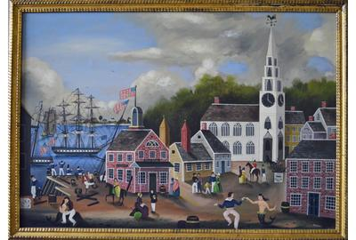 A Massive Ralph Cahoon Painting of A New England Seaside Village Dock, Ralph Eugene Cahoon, Jr., Titled Seaside Village, Signed R.  Cahoon (LR), Oil on Masonite, 1960.