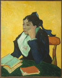 L'Arlésienne: Madame Joseph-Michel Ginoux by Vincent van Gogh.  Oil on canvas, 1888–89.