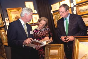 William Vareika of William Vareika Fine Arts (RI) speaking with Dr.  Elliot Bostwick-Davis, Chair, Art of the Americas, MFA Boston, and Malcolm Rogers, Director, MFA Boston at The Ellis Boston Antiques Show Gala.