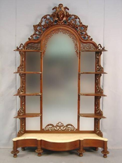 This lovely rosewood Victorian etagere, circa 1855, 7 feet 2 inches tall, will be sold Oct.  18.