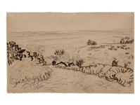 "Vincent van Gogh's 1888 pencil and reed pen drawing ""The Plain of the Crau"" (La Crau de Montmajour) is the first work by the great master acquired and brought to auction by fine art auction start-up Auctionata.  The drawing sold for $433,383.00 during Auctionata's ""Fine Arts"" auction held online on November 29, 2013."