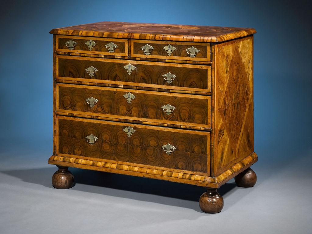 Oysterwood Veneers, Parquetry And Bun Feet Distinguish This Rare And  Exquisite William And Mary Period Chest.
