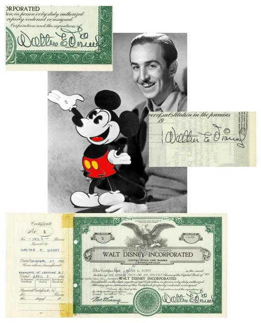 Walt Disney twice-signed, pre-IPO stock certificate for Walt Disney Incorporated, one of only six such certificates in existence, for 142 ½ shares and from 1955 (est.  $26,000-$28,000).