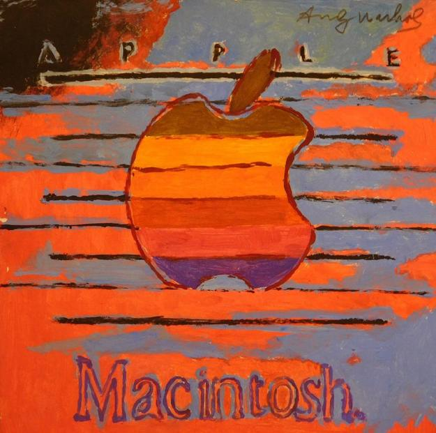 Mid-1980s gouache on paper rendering of the iconic Apple Macintosh logo attributed to pop art legend Andy Warhol (est.  $20,000-$30,000).