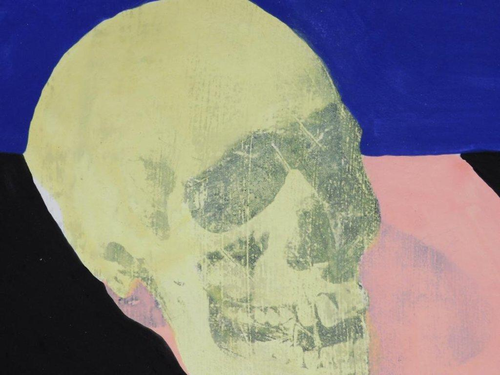 Silkscreen and acrylic painting done in the manner of Andy Warhol (Am., 1928-1987), titled, simply, Skull, a trial proof in very good condition.
