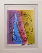Mixed media on paper done in the manner of Andy Warhol (Am., 1928-1987), titled Albert Einstein (est.  $8,000-$12,000).