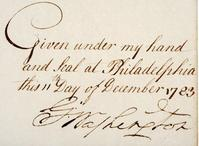 Washington-signed document at Early American in Rancho Santa Fe, CA.