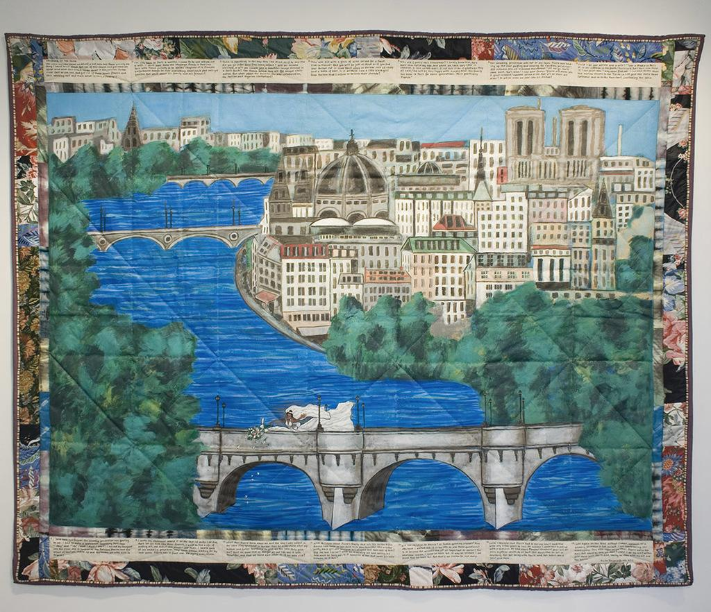 "Faith Ringgold, ""Wedding on the Seine,"" 1991, acrylic on canvas, tie-dyed, pieced fabric border, 74 x 89 inches"