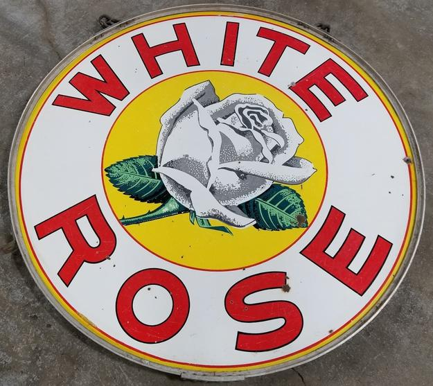 En-Ar-Co White Rose double-sided porcelain sign, 48 inches in diameter, in the original frame ($6,480).