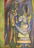 Wifreo Lam, Les Fiances, 1944, tempera on paper, mounted on canvas, 691/4 x 48 inches