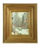 Looking Down 5th Ave., by American artist Guy Carleton Wiggins is a small version of some of his most renowned works which are on on display in museums such as the Metropolitan Museum of Art, the National Gallery of Art, and more.  This example with five American flags is likely to sell for $35,000-45,000.