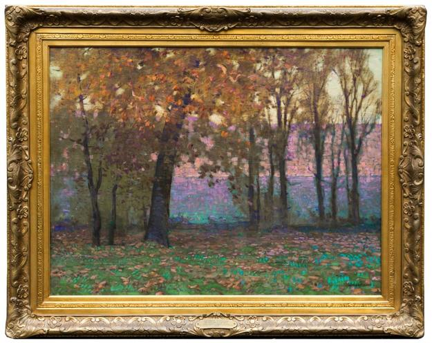 Oil on canvas painting by William Langson Lathrop (Am., 1859-1938), titled October Evening (1922), 30 inches by 40 inches, signed lower right ($100,300).