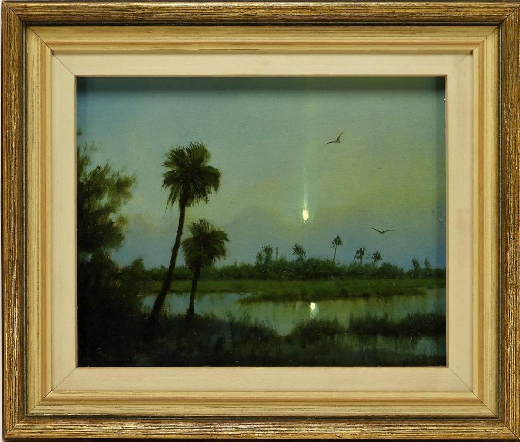 Oil on board landscape painting by contemporary Luminist William R.  Davis (Mass., b.  1952), one of three works by Davis in the auction (est.  $15,000-$25,000).
