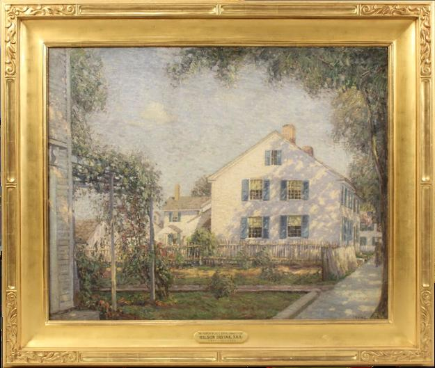 Oil on canvas painting signed by Wilson Irvine (Am., 1869-1936), titled The Fourth of July, Essex, Connecticut (est.  $10,000-$20,000).