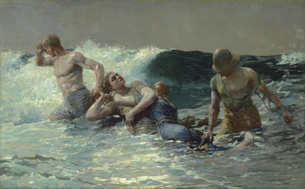Winslow Homer, Undertow, 1886.  Oil on canvas; 29-13/16 × 47-5/8 in.  Sterling and Francine Clark Art Institute, Williamstown, Massachusetts: Acquired by Sterling and Francine Clark, 1924, 1955.4.  Image courtesy clarkart.edu