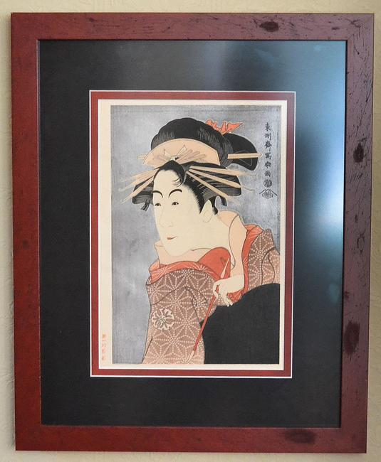 "This Japanese ""Big Head"" woodblock print of a Kabuki actor by the artist Sharaku will be sold at auction Sept.  27."