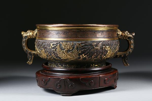 A 17th century Chinese gilt bronze silverwire censer, by Hu Wenming