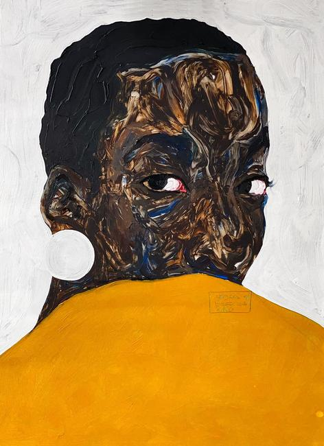 Amoako Boafo, Untitled , 2020, Oil on canvas, 70cm x 50cm, Courtesy of the artist and Mariane Ibrahim Gallery