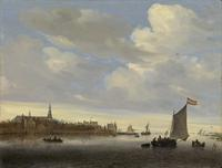 SALOMON VAN RUYSDAEL (Naarden 1600/03 – 1670 Haarlem) A river view with the town of Weesp Signed with monogram and dated on the sailing boat: SVR (in ligature) 1650 FE.  Oil on panel: 18 ½ x 25 in / 47 x 63.5 cm.  From exhibitor Richard Green.