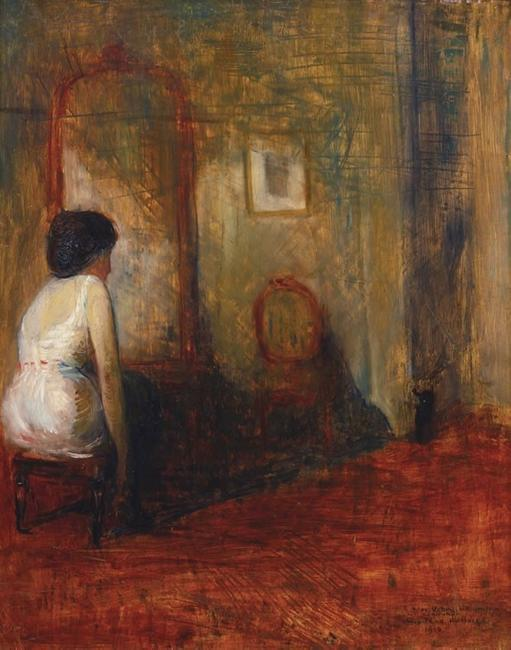 From Betty Krulik Fine Art, Ltd.  (booth 12): Guy Pene du Bois, Woman at Dressing Table, 1916.  Oil on panel, 25 x 20 inches.