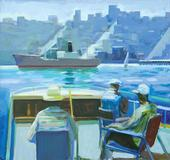 "JAMES WEEKS, Framed oil on canvas, ""Sunday Boating,"" 42"" x 44"""