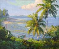 "A.  E.  Backus, ""Indian River,"" signed, oil on canvas, 25 x 30 inches."