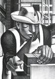 John Wilson (American, b.  1922) Trabajador, 1951.  Lithograph, 18-1/2 x 12-1/2 inches.  Martha Richardson Fine Art.