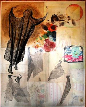 "Altered Ascension Rags 48x60"" Mixed Media on Canvas,1977"