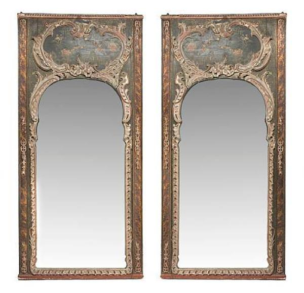 Lot No: 4210W An imposing pair of Louis XVI polychrome decorated pier mirrors.  Estimate: $8,000-$12,000.
