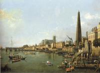Giovanni Antonio Canal, called Canaletto (Venice, 1697-Venice, 1768) London, the Thames towards Westminster Bridge.  Oil on canvas, 50.8 x 83.5 cm.  Galleria Cesare Lampronti.