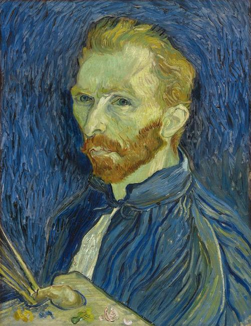 VINCENT VAN GOGH (Dutch, 1853–1890): Self-Portrait, 1889.  Oil on canvas, 22 ½ by 17 ¼ inches.  National Gallery of Art, Washington, Collection of Mr.  and Mrs.  John Hay Whitney, 1998.74.5