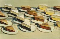 "Wayne Thiebaud, ""Pies, Pies, Pies,"" 1961.  Oil on canvas, 20 x 30 in (50.8 x 76.2 cm)."