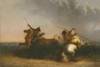 Alfred Jacob Miller (1810–1874) Buffalo Hunt, ca.  1838–1842.  Oil on wood panel.  Amon Carter Museum, Fort Worth, Texas.