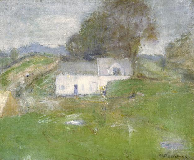 John Twachtman, Artist's Home, Greenwich, Connecticut, ca.  1890.  Oil on canvas, 15 1/2 x 18 7/8 in.  Promised gift of Dorothy and Norm Lien