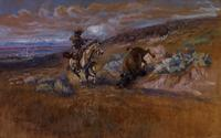 Charles M.  Russell, Meat for the Wagons (1925), watercolor, 13 1/2 x 21 1/2""