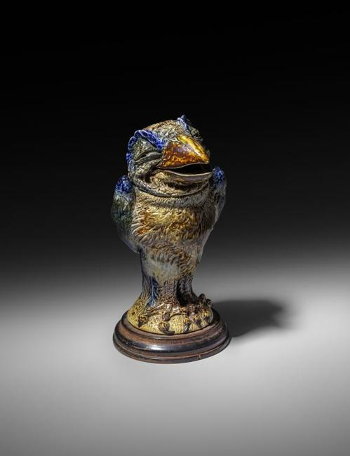A Martin Brothers stoneware bird jar and cover by Robert Wallace Martin, from the Daryl Fromm collection, estimated at £30,000-50,000 in the November 27 auction at Woolley & Wallis in Salisbury, UK.