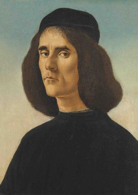 ALESSANDRO FILIPEPI DI MARIANO DI VANNI, called SANDRO BOTTICELLI Florence 1444 – 1510 ‍ Portrait of Michael Marullus Tarchaniota c.  1458 – 1500, bust-length, in black, the sky beyondoil on panel, transferred onto canvas, 49 x 35 cm with an inscription in Cyrillic by Alexander Sidorov (1835-1906), chief restorer of the Imperial Hermitage, Saint Petersburg, circa 1900 (on the reverse of the lining canvas)