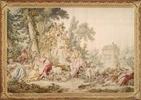 This remarkable French tapestry celebrates the artistry of the famed François Boucher