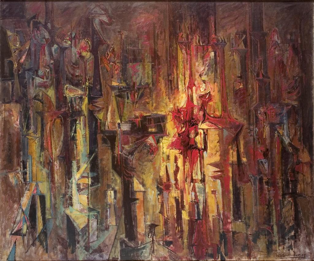 Hans Burkhardt, City At Night I, Guadalajara, 1957, oil on canvas