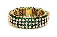 Vintage Emerald and Diamond Band Bracelet.  Represented by Windsor Jewelers.