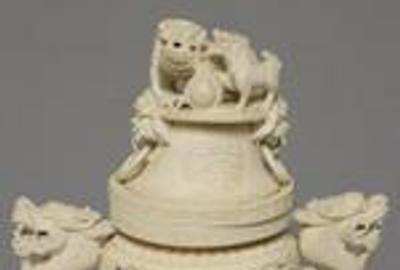 Chinese Carved Ivory Closed Censor