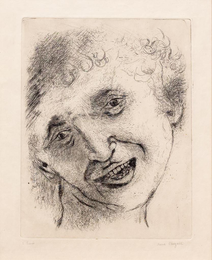 Self Portrait with a Laughing Expression,1924-25, etching and drypoint, 11 x 8 1/2 inches