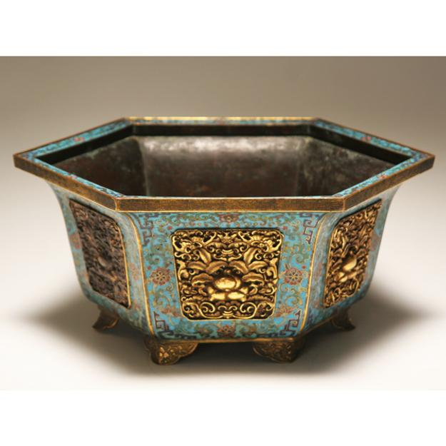 Chinese Cloison footed hexagonal planter realized $16,000 at Antique Helper's March 19 Art and Antiques Auction
