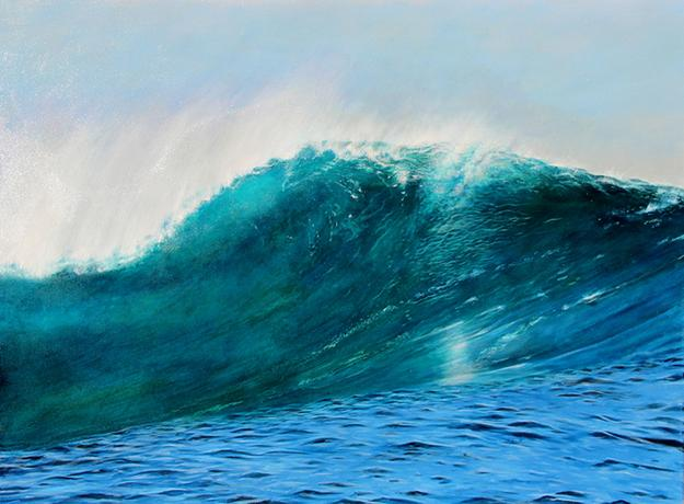 """Wave IV"" Wave Series signed verso acrylic on canvas 36"" x 48"""